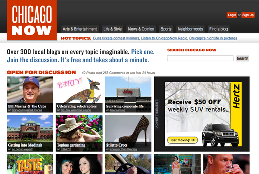 Screenshot of ChicagoNow Homepage
